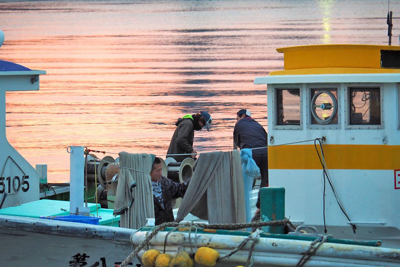 しらす漁準備